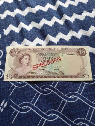 1968 QEII Bahamas Monetary Authority ☆SPECIMEN☆ 50 Cents note ☆GEM UNC☆