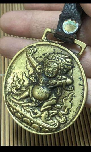 黄銅雙面浮雕大黑天九宮八卦掛牌