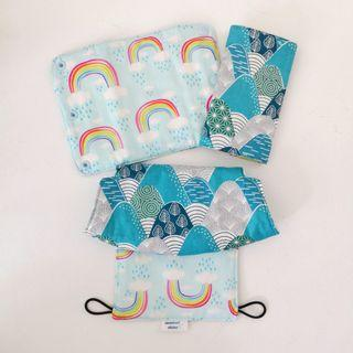 *preorder* Customized Tula Explore Bib and Drool Pads - Blue Mountains and Clouds