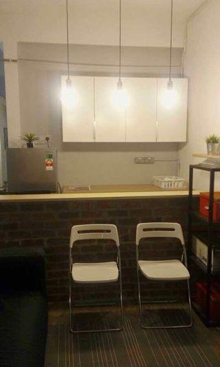 Brick kitchen counter & cabinets