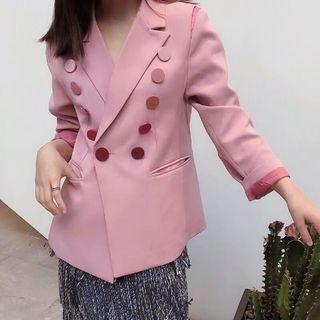 🚚 韓 春天氣息 跳色 色彩 鈕扣 西裝外套 溫柔粉色 預購