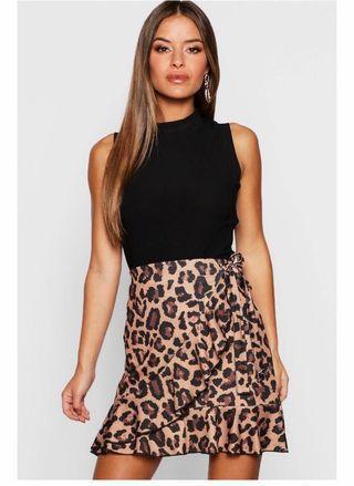 Leopard ruffle mini wrap skirt