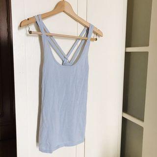 Zara baby blue cami vest 全新Zara淺藍色針織背心 交叉背帶 防跌膊 舒服料 夏天衫 size M
