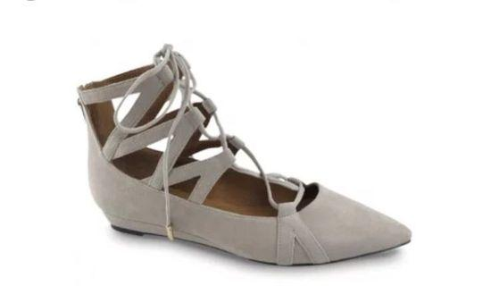 Grey Suede Lace Up Flat Shoe