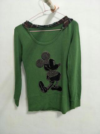 🚚 米奇超保暖綠色格紋連帽上衣