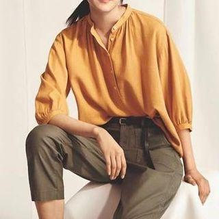 🚚 Uniqlo yellow Linen Blended 3/4
