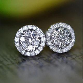 Diamond Illusion Earrings With Detachable Halo