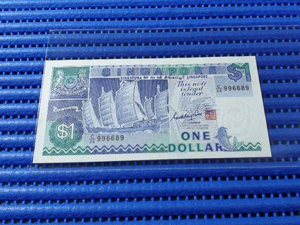 🚚 996689 Singapore Ship Series $1 Note C/36 996689 Nice Prosperity Number Dollar Banknote Currency ( 9 Head 9 Tail )