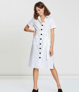 ATMOS & HERE White Button Dress