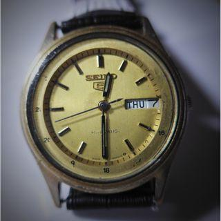 Seiko 5 Automatic Round Gold Plated Dial Watch
