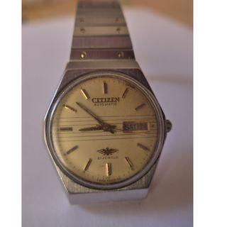 Citizen Automatic 21 Jewels Yellow Striped Mid-Dial Watch