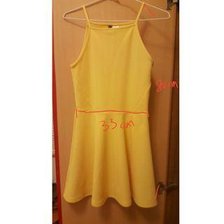 🚚 H&M黃色青春洋溢細肩帶洋裝