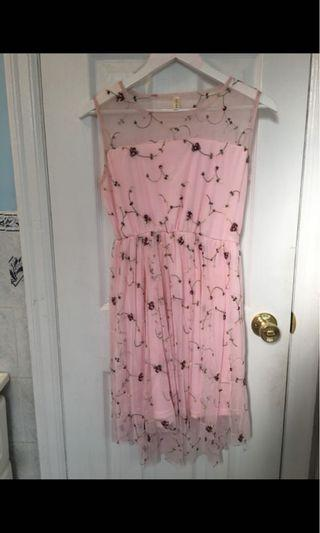 Pink Embroidered Dress Size Small