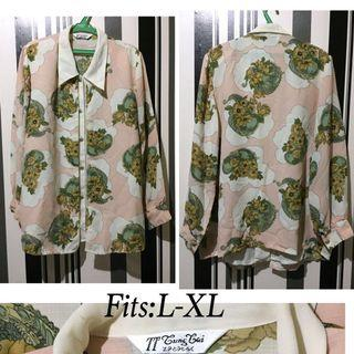 Peach Floral collared longsleeve button down Blouse