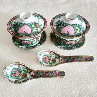 Pair of 1960s Vintage Chinese Tea Cups & Spoons (Chinese Wedding / Peranakan?)