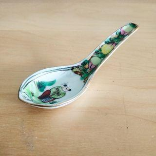 Hand Painted Porcelain Chinese Spoon With Gold Rim