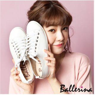 Ballerina 芭蕾伶娜 台灣製全真牛皮綁帶休閒鞋-白