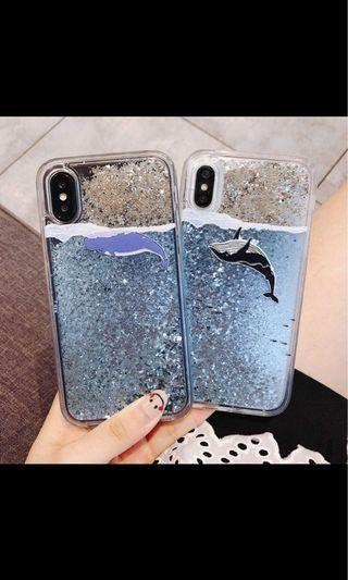Whale dolphin glitter iPhone casing