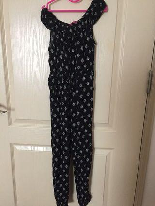 Young Dimension Girl Black Patterned Jumpsuit