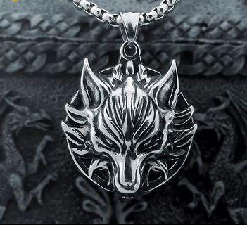 Unisex Titanium Steel Wolf Pendant And Necklace