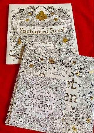 🚚 全新-秘密花園、魔法森林繪圖本