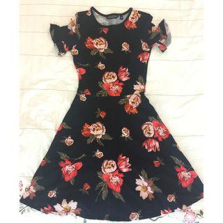 Dorothy Perkins Black Flared Dress with Red Floral Prints