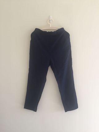 韓貨 深藍色棉麻長褲 褲頭鬆緊