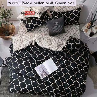 Black Sultan Fitted Bedsheet Quilt Cover Set