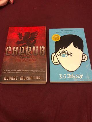 New books $10 each: Cherub: the recruit, Wonder