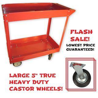 "Tool Trolley Utility Cart Heavy Duty Workshop Large Castors 5"" Wheels Car Motorcycle Bike Detailing Industrial Mobile Storage XL size [41% DISC]"
