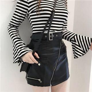 BN Leather Zipper Skirt