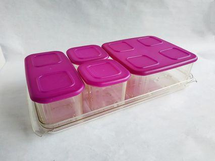 Tupperware Clear Mates Set of 4 with Tray Food Snack Storage Containers