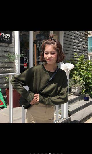 🚚 韓國ulzzang素色毛衣(酒紅/軍綠) #半價衣服拍賣會