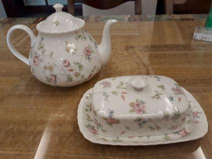 Wedgwood Teapot and Butter Dish
