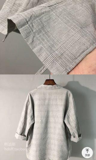 韓國原單西裝領麻布料復古西裝外套