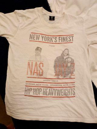 New York's Finest Jay-Z vs Nas hip hop t-shirt men's size M