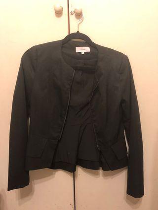 Black peplum style collarless blazer