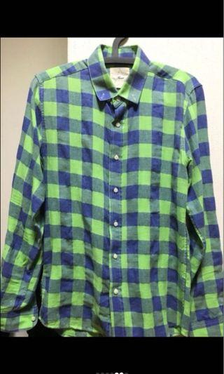 RAMON 韓國男裝 藍綠格紋襯衫 九成新