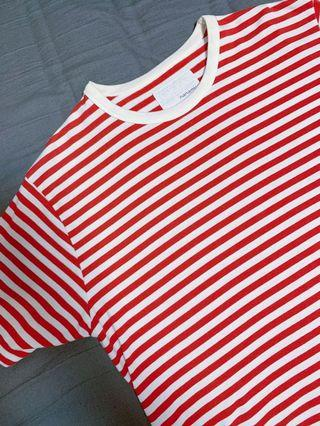 高質感條紋 Nanamica Tshirt M號-紅