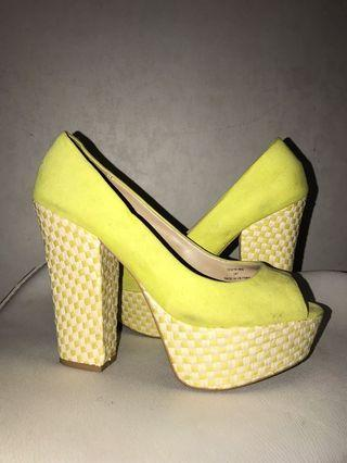 Yellow wedges heels