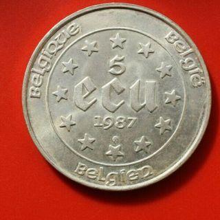 Belgium 5 ECU silver 1987 vintage coin KM#166