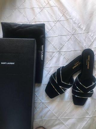 YSL BLACK VELVET SHOES