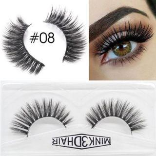 3D Mink Eyelashes Extensions Natural Handmade Fake Eyelashes #08