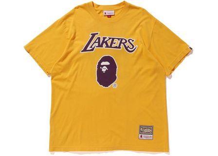 A bathing ape bape mitchell ness Lakers tee