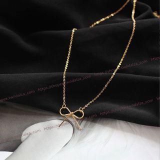 ☆Idalza☆ 現貨 韓版 秀氣 典雅 氣質 金色 蝴蝶結 項鍊 Choker 頸鍊 飾品 (特價)