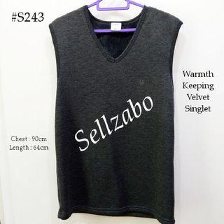 #S243 Suits M Size Winter Warmth Thick Inner Top Tee T-Shirts Sleeveless Casual Plain Simple Warm Sellzabo Wear Mens Guys Male Boys Man Design Dark Grey Colour