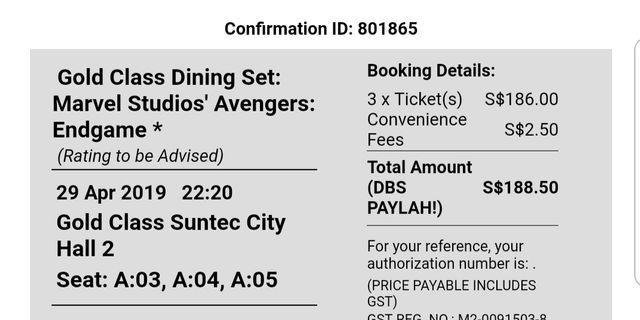 EndGame Gold Class Ticket