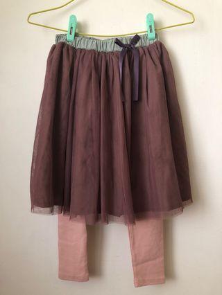 🚚 [全新品女童裝]乾燥玫瑰女童11號兩件打底褲裙 紗裙打底褲 柔軟布料 現貨優惠一組