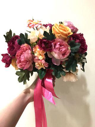 Bridal hand bouquet for wedding/ photoshoot (artificial flowers)
