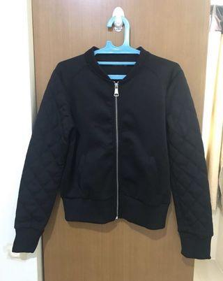 BERSHKA Black Bomber Jacket